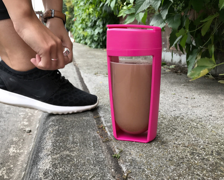 pink mous shaker bottle and fitness bottle perfect for the healthy and fit lifestyle