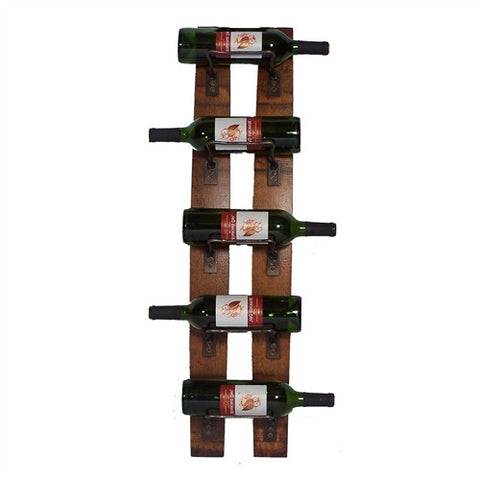 De-Stressed Wall Mounted 5-Bottle Wine Rack