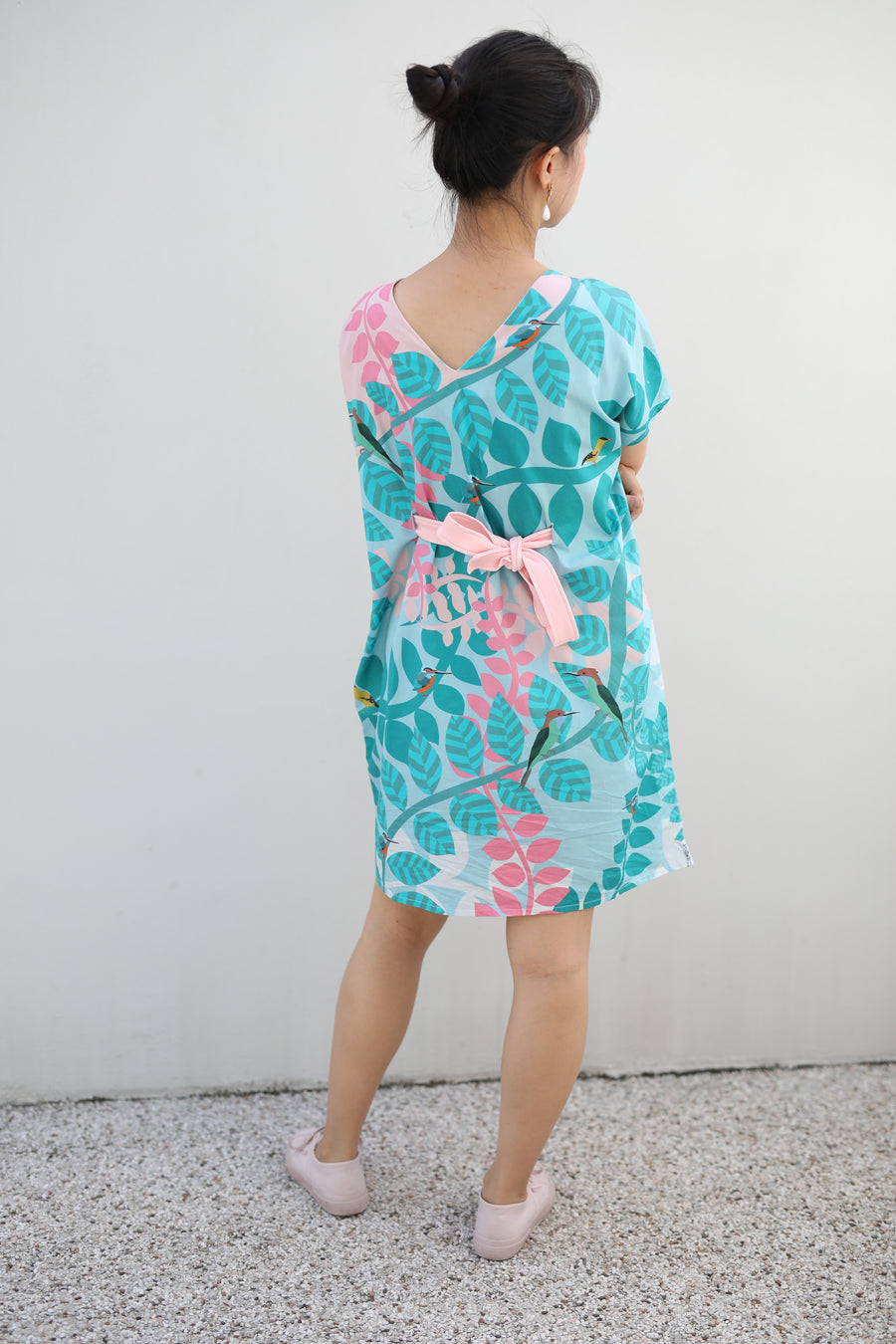Native Birds Kimono Dress in COTTON