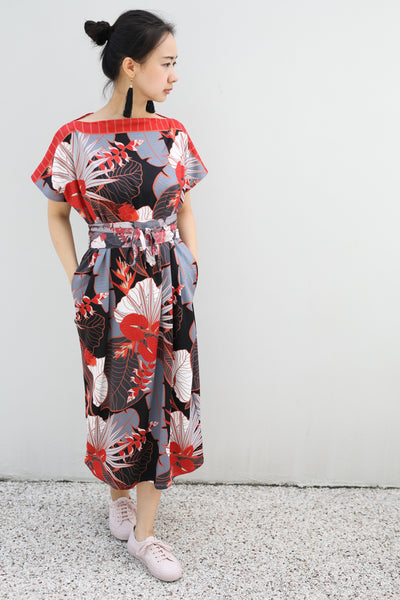 Tropical Party Midi Kimono Dress