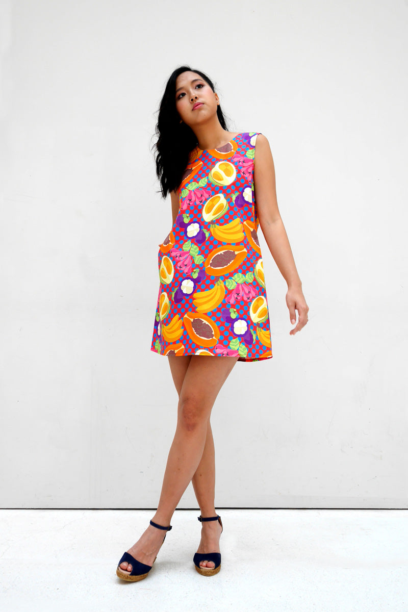 Tropical Rojak Cotton Mini Dress