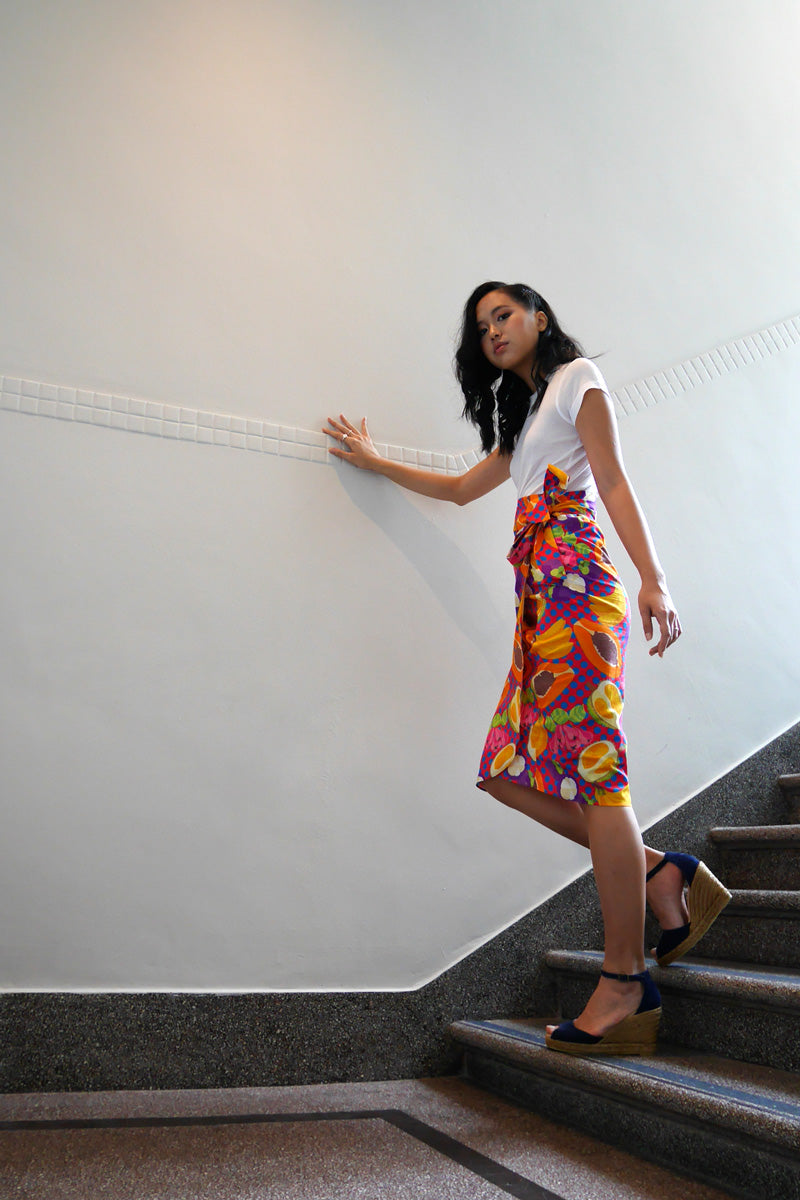 Tropical Rojak Cotton Wrap Skirt