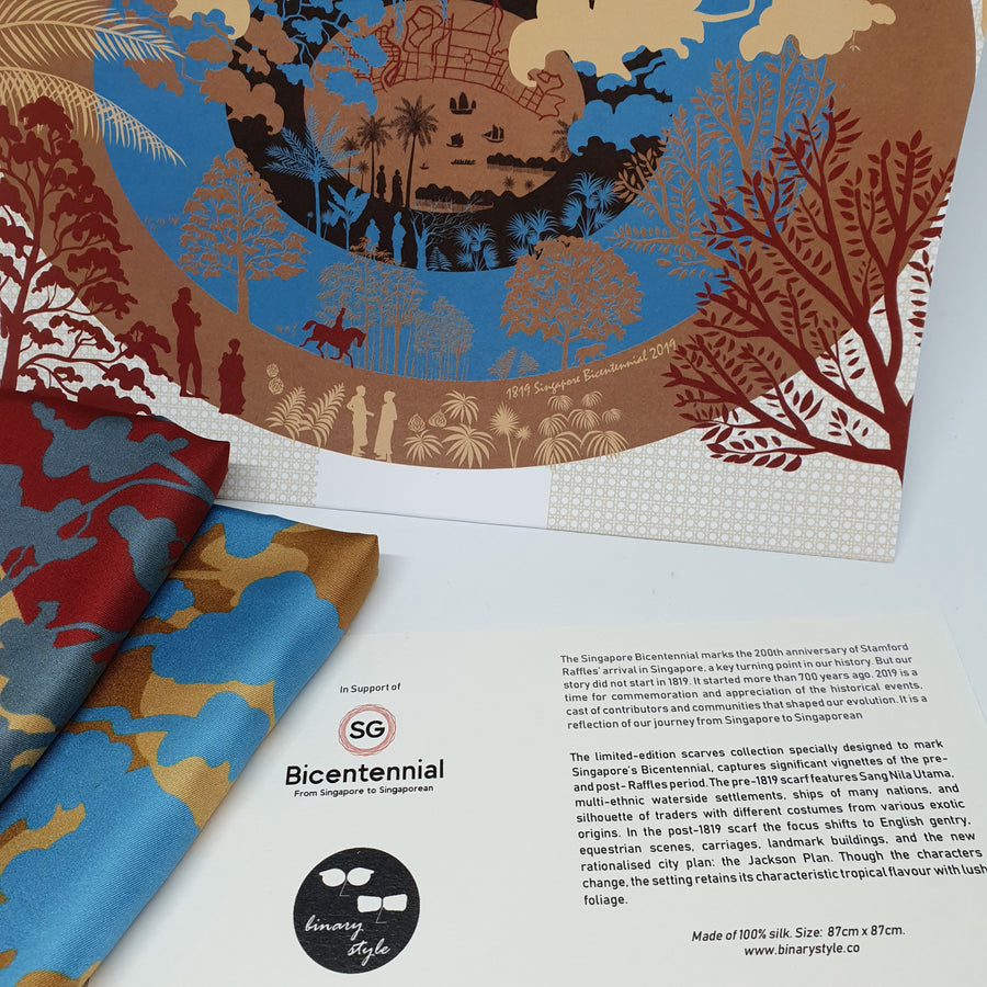 Limited Edition:  Singapore Bicentennial Silk Scarves (set of two)
