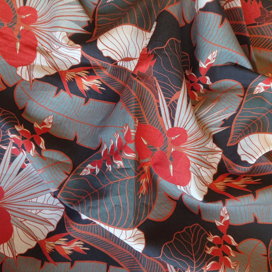 Tropical Party Charcoal Fabric