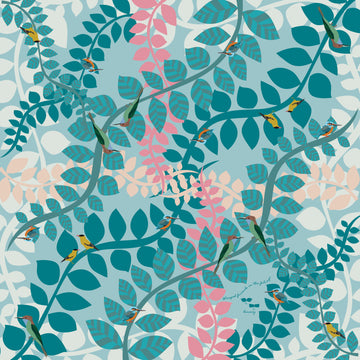 SILK TWILL: Winged Friends in the Foliage