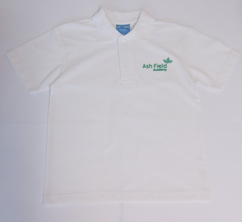 Ashfield White unisex Polo shirt. - Fanatics Supplies