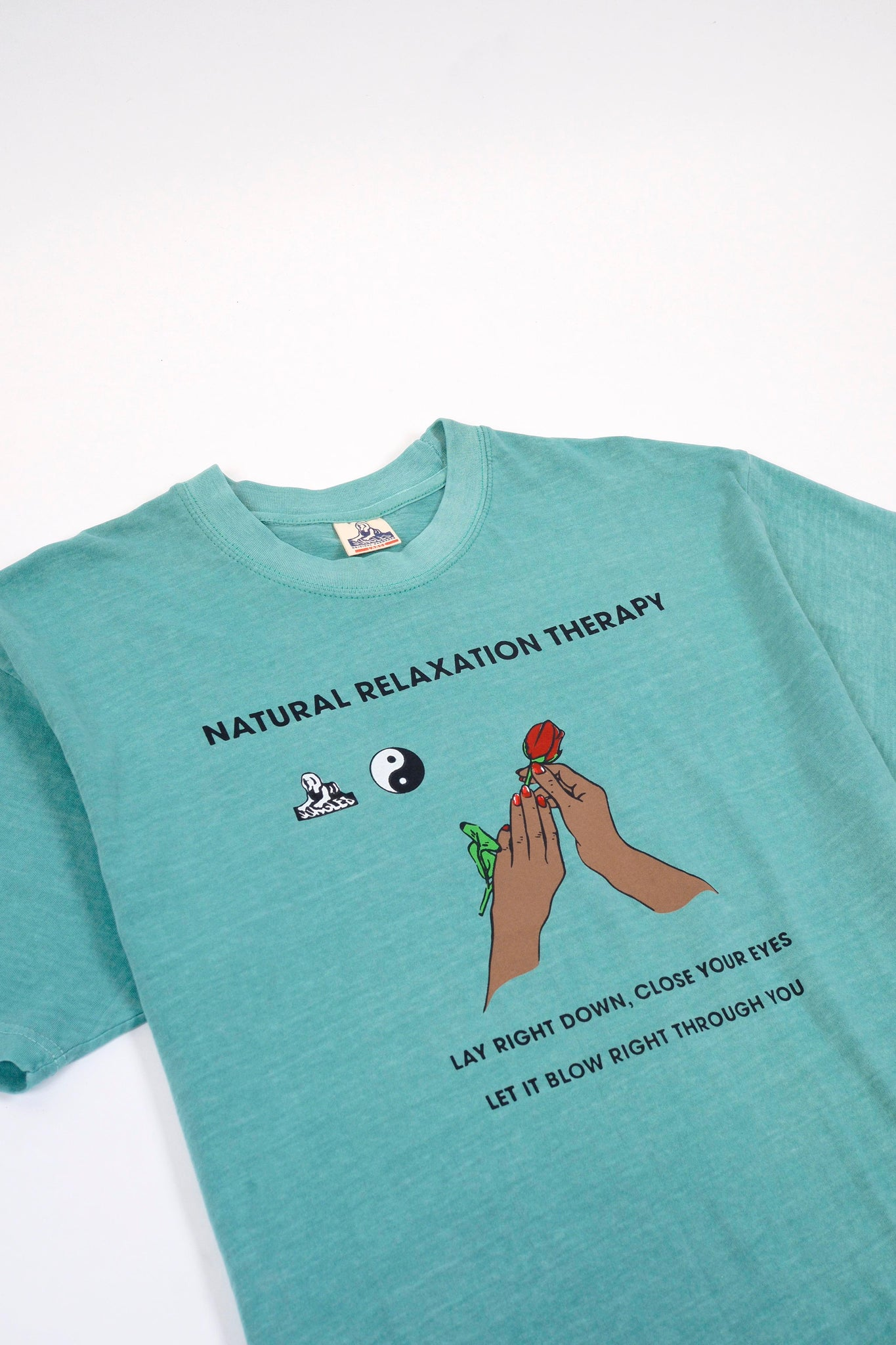 NATURAL RELAXATION SS TEE - SEAFOAM OVERDYE