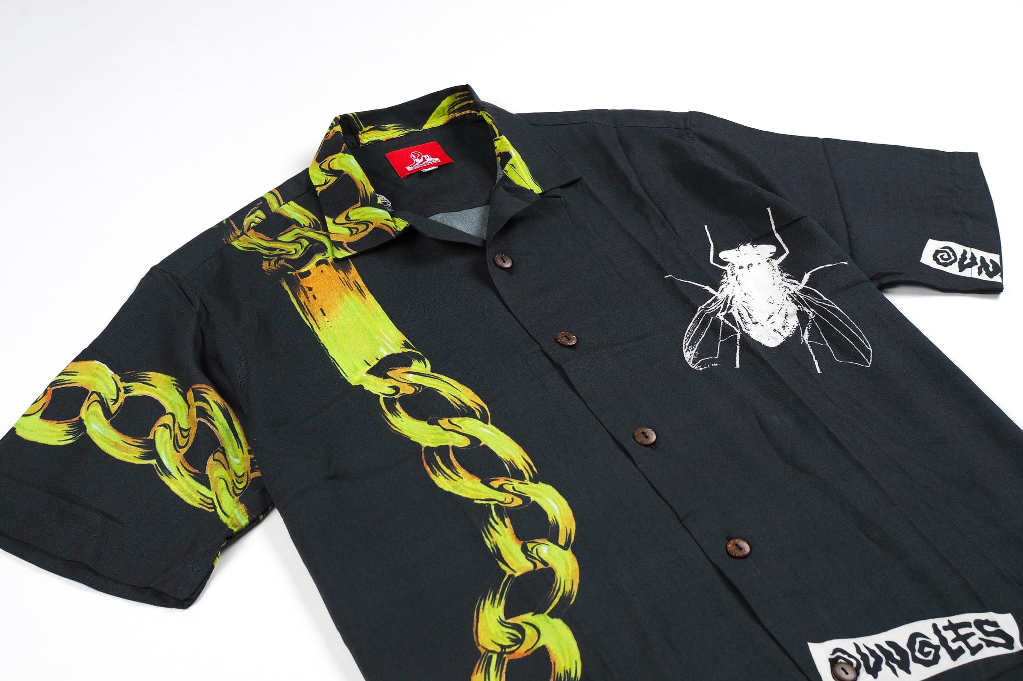 CHAINS rayon button up shirt