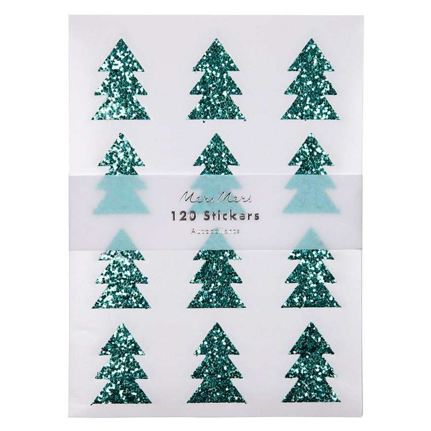 Green Glitter Tree Stickers