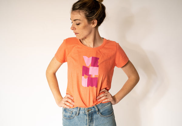 Women's Orange Block Letter T-Shirt