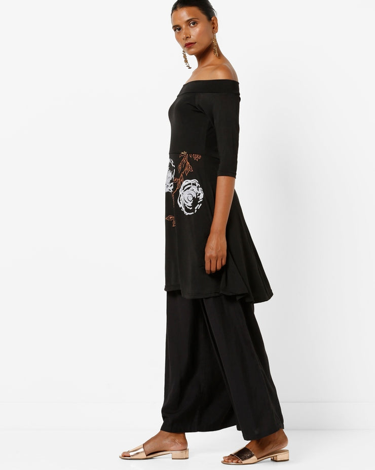 Printed black Off shoulder Kurta - Ira Soleil