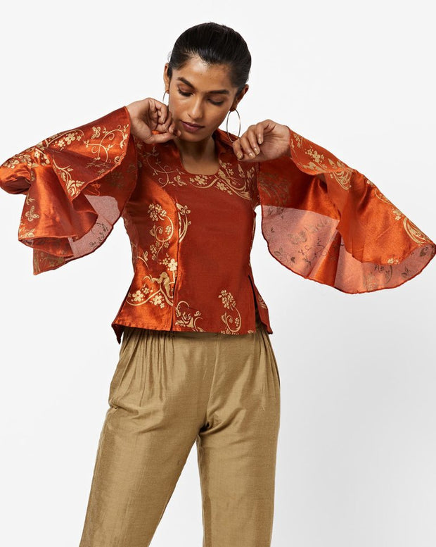 Orange All over printed new Top - Ira Soleil