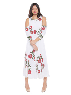 Long Anarkali Kurta with Red floral print and cold shoulder - Ira Soleil