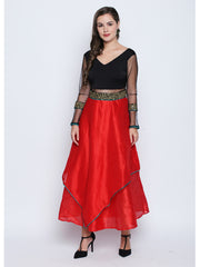 Ira Soleil Long double layered Anarkali with embroidered waistline - Ira Soleil