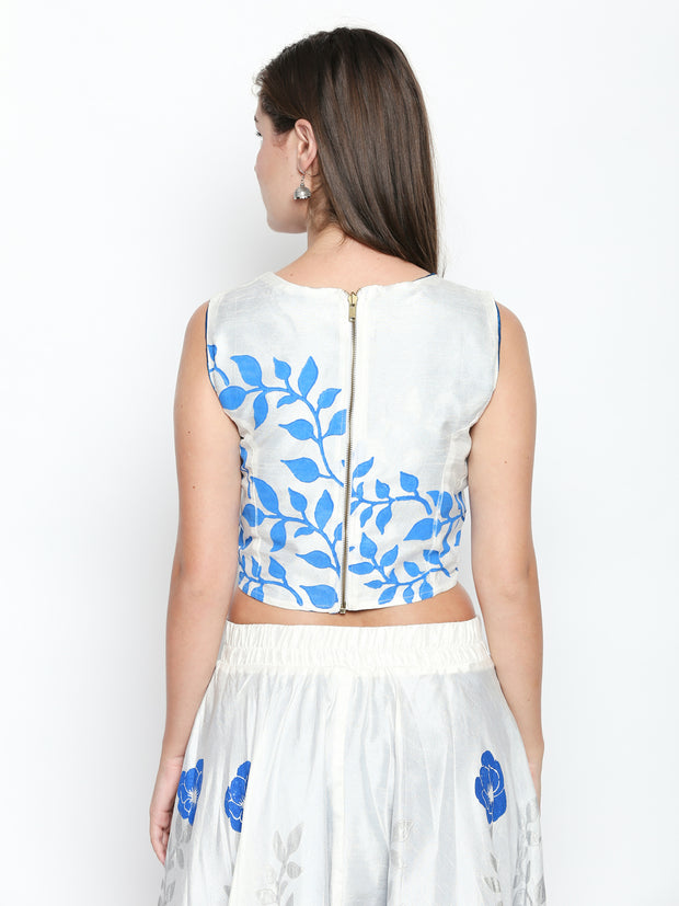 White/Blue Reversible printed Top