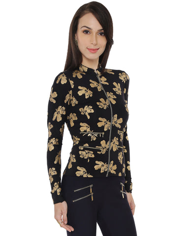 Ira Soleil All Over Printed with Gold Full Sleeves Jacket