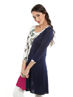 White kurti with floral and blue contrast