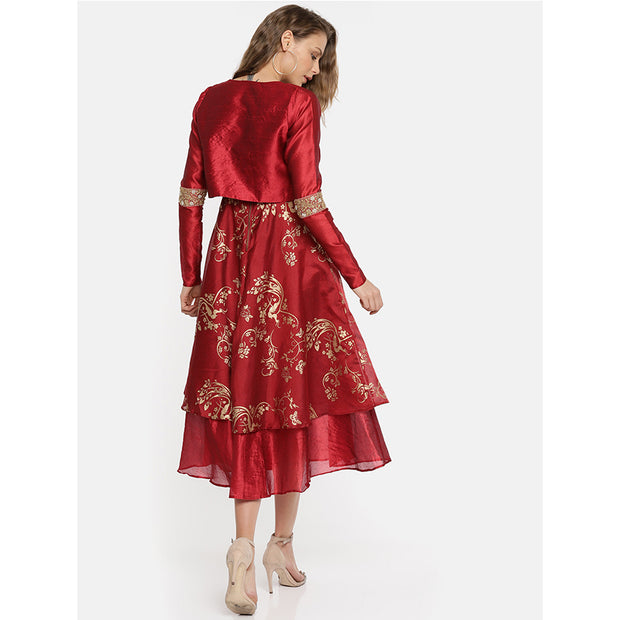 2 pc set of maroon long anarkali with jacket. - Ira Soleil