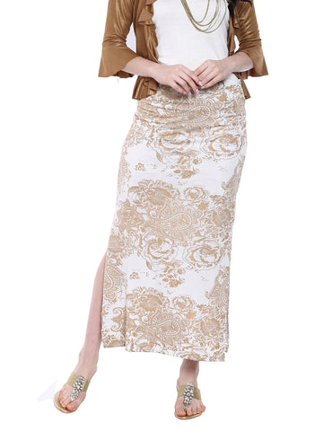 Ira-soleil-White-all-over-printed-long-skirt-made-with-polyester-lycra