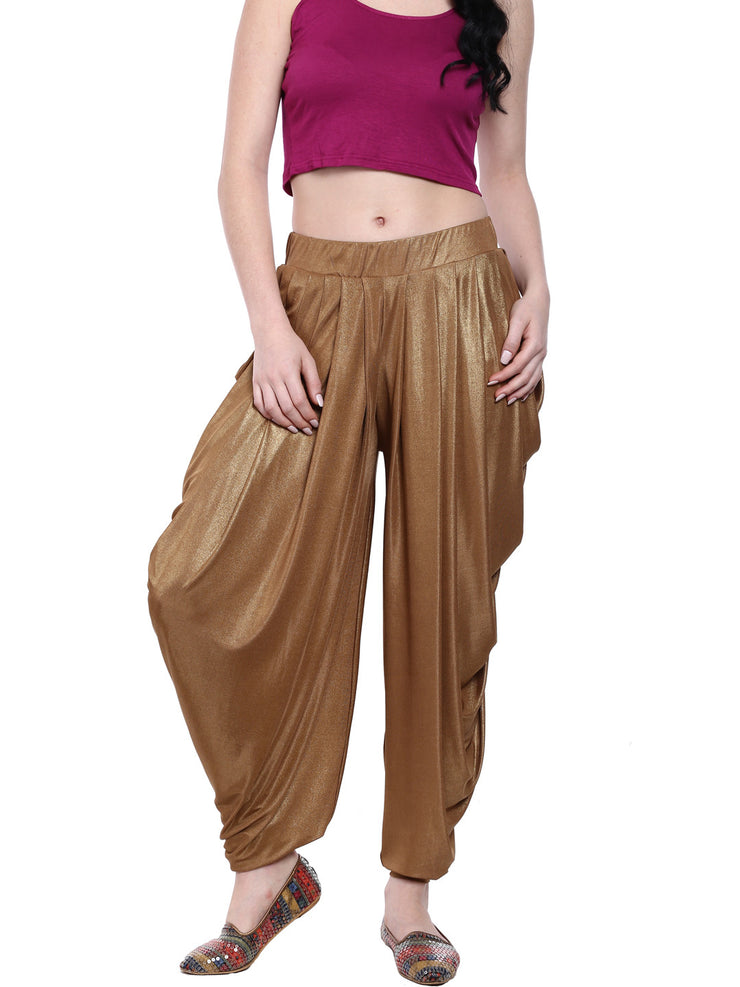 Gold patiala made with stretched lycra shimmer fabric - Ira Soleil