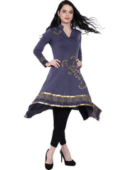 Grey High Low, flared hem Anarkali Kurta with gold print made in stretch polyester. - Ira Soleil
