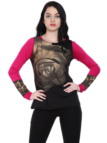 Ira Soleil Black Top with pink sleeves and gold big flower print in front made with stretched lycra fabric