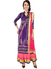 3pcs set of Lehenga, Long Top with Gold print and dupatta. - Ira Soleil