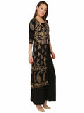 Ira Soleil Two pcs set of Black Kurta with gold print and with palazzo pant