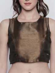 Gold crop Top with metal zipper closure - Ira Soleil