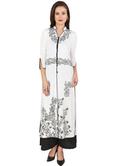 Ira Soleil 2 pc set White Long 3/4th Sleeves Jacket with Black Print with palazzo pant - Ira Soleil
