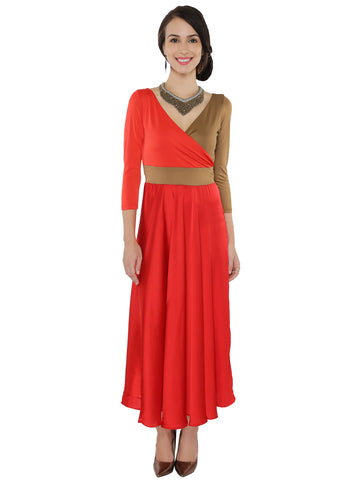 Ira Soleil 2pc Set Red Long Anarkali Kurti with contrast Tan Color And with Free Jewellery
