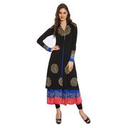 A jacket & gold printed blue long inner Set - Ira Soleil