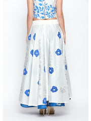 Ira Soleil New White Reversible Skirt with Blue print - Ira Soleil