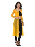 Ira Soleil Long Jacket Kurti with Zipper and Gold Tinsel Print