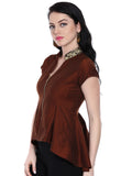 Ira Soleil Cap sleeves top with zipper