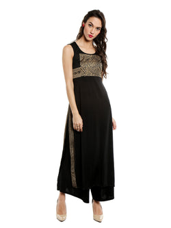 Black Kurta with block prints and slit - Ira Soleil