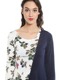 Ira Soleil White floral printed with contrast blue Kurti