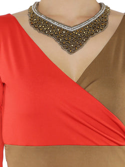 (2pc set) Red Anarkali with contrast Tan Color and free jewellery