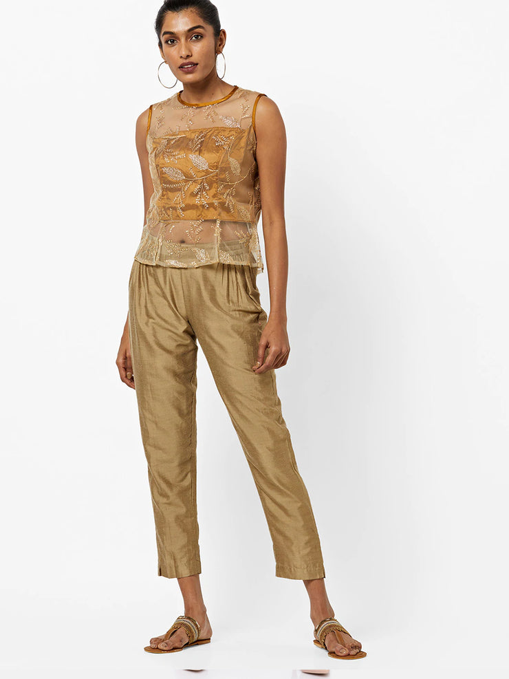 Gold self embroidered Top - Ira Soleil