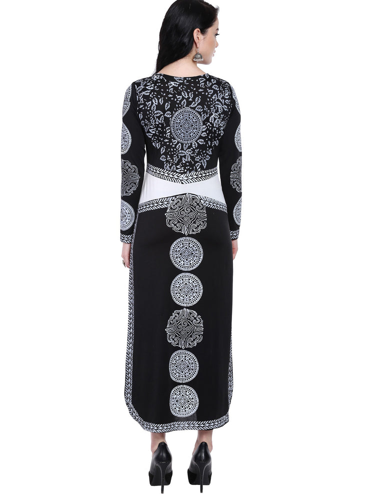 Black Kurta with white print in  ITY- Polyester- Lycra fabric - Ira Soleil