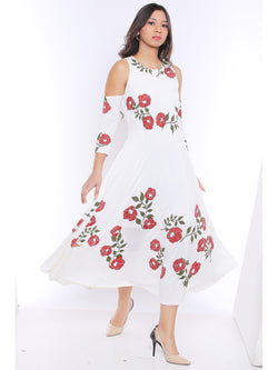 Ira Soleil Long Anarkali Kurta with with Red print and cold shoulder sleeves