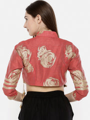 Coral and Gold, Lace detailed Reversible jacket top - Ira Soleil