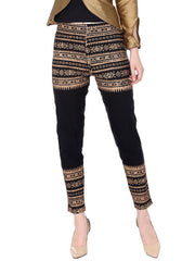Ira Soleil gold tinsel printed pant made with polyester lycra fabric - Ira Soleil