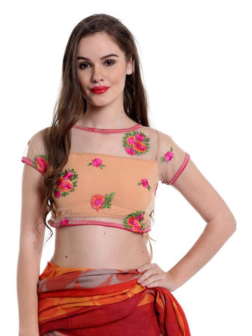 Ira Soleil Beige saree blouse made with embroidered lace