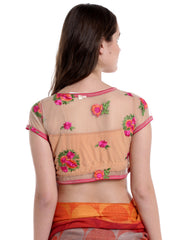 Beige saree blouse made with embroidered lace - Ira Soleil