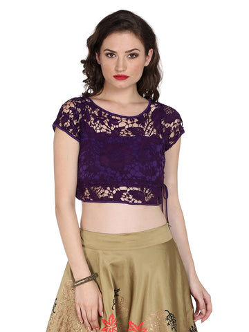 Ira Soleil Purple saree blouse made with embroidered lace