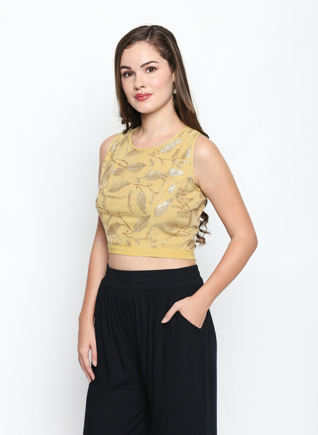 Self embroidered crop top - Ira Soleil