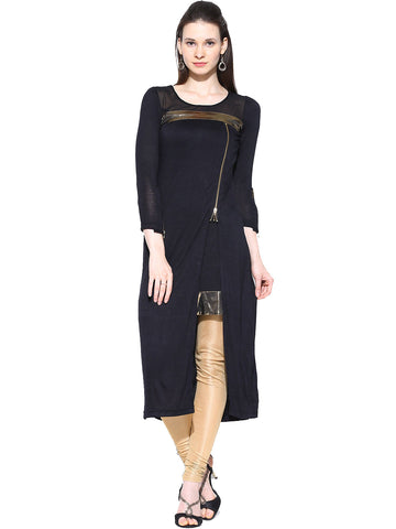 ira-soleil-black-double-layered-with-zipper-viscose-knitted-stretchable-long-sleeves-womens-short-kurti