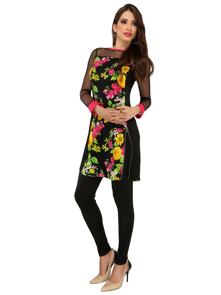 Black all over floral printed woven rayon net long sleeves short dress kurti - Ira Soleil