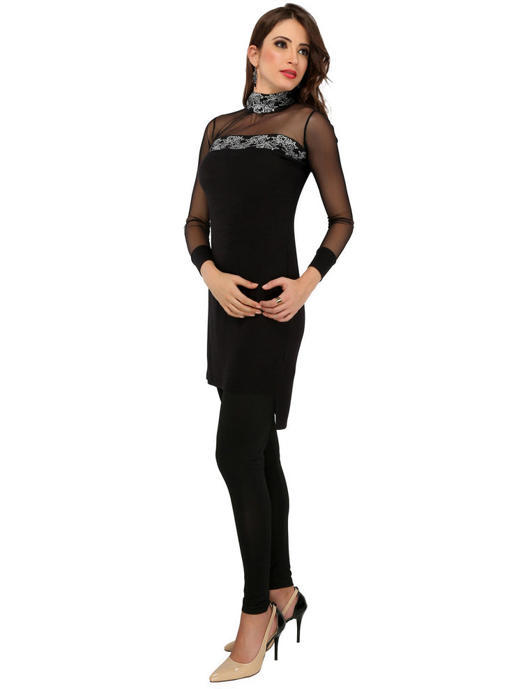 Black polyester knitted stretchable net long sleeves womens short dress kurti - Ira Soleil